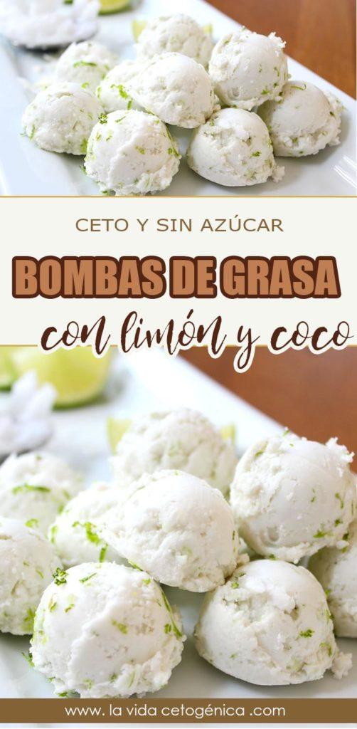 bombas de grasa ceto con limón y coco
